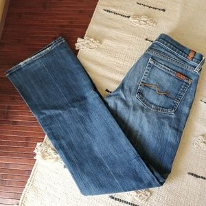 7 For All Mankind Blue Denim Bootcut Jeans 28